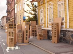 Cardboard city Cardboard City, Large Cardboard Boxes, Cardboard Crafts, Cardboard Houses, Superhero Party, Superhero Classroom, Classroom Decor, Diy Toys, Diy For Kids