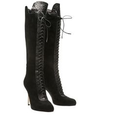 GIANVITO ROSSI Boot with lace-up front ($580) ❤ liked on Polyvore featuring shoes, boots, heels, shoes and boots, black knee boots, black leather knee high boots, knee high lace up boots, black knee high heel boots and leather lace up boots
