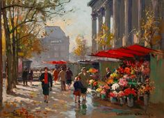 edouard Leon cortes pintor poeta paris pintura. Flower Seller at la Madeleine