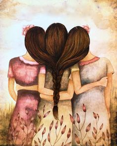 Tree sisters best friends  with brown hair by PrintIllustrations, $20.00