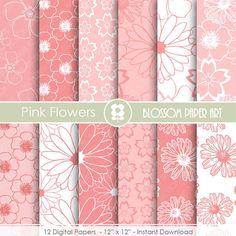 Pink Digital Paper, Floral Digital Paper Pack, Digital Paper Pack, digital backgrounds, Pink FLowers Wedding Papers -1676