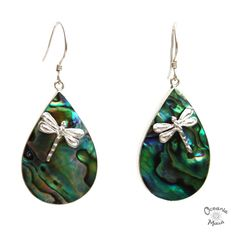 Abalone Droplet Earrings with Dragonflies