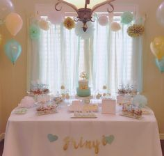 Mint green gold and white baby shower sweet table!!