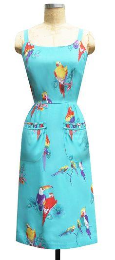 Paradise Dress in Turquoise Birds