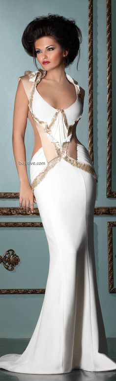 Mireille Dagher Spring Summer 2013 Ready to Wear are sensual and romantic evening gowns that you can't help but imagine yourself wearing. Beautiful Gowns, Beautiful Outfits, Cool Outfits, Beautiful Clothes, Dress Vestidos, Gowns Of Elegance, Formal Gowns, Long Gowns, Herve Leger