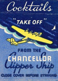 Vintage matchbook cover from The Chancellor Clipper Ship Vintage Labels, Vintage Ads, Vintage Airline, Vintage Trends, Matchbox Art, Vintage Type, Vintage Travel Posters, Graphic Design Inspiration, Vintage Advertisements