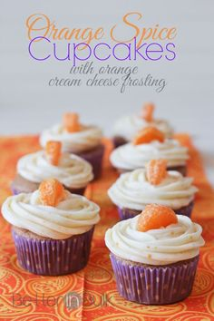 Orange Spice Cupcakes with Orange Cream Cheese Frosting - start with a spice cake mix from a box and finish with something incredible! Easy Cake Recipes, Brownie Recipes, Cupcake Recipes, Cupcake Cakes, Dessert Recipes, Cupcake Flavors, Cupcake Ideas, Cup Cakes, Spice Cupcakes