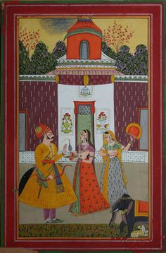 Illustration from a Baramasa series: the month of Jyeth.  Gouache, silver and gold on wasli, India, Marwar, late 18th century