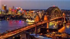 Tiny Sydney. A short tilt-shift film showing the city of Sydney. Tilt-shift effect applied in post-production. Shot from Bondi Beach, Sydney...