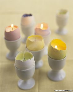 Eggshell Votives - Light up your Easter table with a dozen brightly colored eggs doubling as candles!
