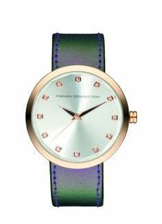 French Connection Women's FC1006RS Over-Sized Round Glossy Watch French Connection. $52.00. Mineral glass; 24 months international warranty. Czech crystals. Purple gloss leather. Quartz movement. Water-resistant to 165 feet (50 M). Save 55% Off!