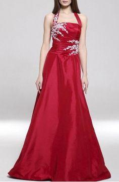 A-line Halter Floor-length Taffeta Evening/ Prom Dress