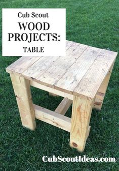 Teach Cub Scouts how to build a table. Webelos or AOL will get credit for the Build It adventure, and Bears can work on the Baloo the Builder adventure. Source by cubideas Wood Projects For Kids, Wood Projects For Beginners, Wood Working For Beginners, Diy Projects, Easy Small Wood Projects, Outdoor Projects, Kids Woodworking Projects, Woodworking Crafts, Woodworking Plans