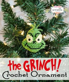 The Grinch Inspired Crochet Ornament 25 Days of Christmas Traditions Crochet-a-Long Free pattern from Sewrella Crochet Christmas Decorations, Crochet Ornaments, Christmas Crochet Patterns, Holiday Crochet, Crochet Gifts, Diy Crochet, Crochet Ornament Patterns, Crochet Christmas Gifts, Crochet Snowflakes
