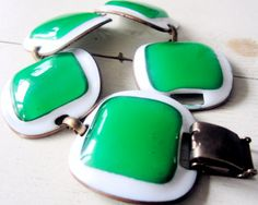 RARE SIGNED  Kay Denning  Designer  Enamel bracelet