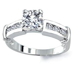 Bling Jewelry Sterling Silver Classic Round Cut CZ with Channel Set Side Stones Engagement Ring Bling Jewelry. $34.99. Weighs about 3 grams. Round Cut Cubic Zirconia Classic Engagement ring. 1.25 Round Cut CZ center stone, .03 ct channel set side stones. Rhodium Plated .925 Sterling Silver