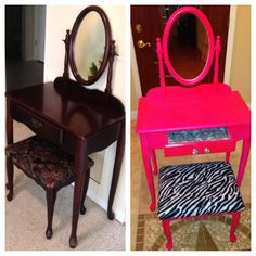 Before and After hot pink and zebra vanity for my little girl <3