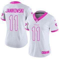 33cde15aa Nike Raiders  11 Sebastian Janikowski White Pink Women s Stitched NFL  Limited Rush Fashion Jersey Pink