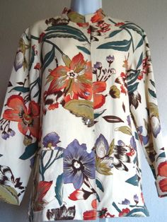 Sz S Coldwater Creek Jacket Silk Linen Mandarin Collar Floral Career | eBay