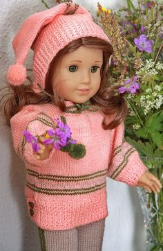 Gorgeous sweater and hat knitting patterns for 18 inch dolls $7.95