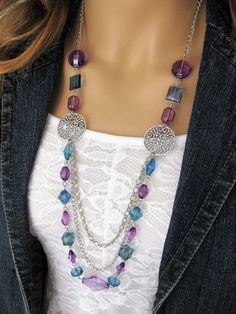 Long Blue and Purple Beaded Necklace Blue by RalstonOriginals                                                                                                                                                                                 More