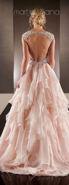 Martina Liana Spring 2015 Blush Pink Wedding Dress / http://www.deerpearlflowers.com/52-perfect-low-back-wedding-dresses/3/