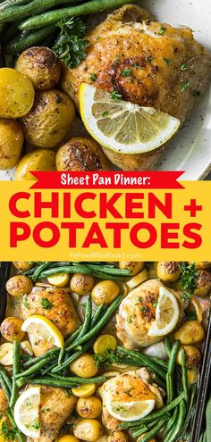 This Sheet Pan Chicken and Potatoes recipe is an easy dinner with perfectly seasoned and roasted chicken thighs, potatoes and green beans. Crispy Roasted Chicken, Roasted Chicken Thighs, Smoke Sausage And Potatoes, Lemon Green Beans, Potato Recipes, Easy Recipes, Chicken Potatoes, Quick Easy Meals, Sheet Pan