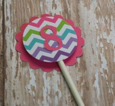 Chevron Cupcake Toppers with Age/Initial (set of 12) via Etsy