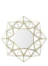 Gold Metal Geometric Large Frame Mirror