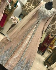 Pakistani bridal dress/ partywear Beautiful bridal/ partywear dress can me made into any color or design. Custom orders only. Comes with a full inner banasari silk maxi and out chiffon embroidery maxi cost and net duppta. Moda Indiana, Party Kleidung, Indian Gowns Dresses, Pakistani Wedding Dresses, Pakistani Gowns, Walima Dress, Pakistani Fashion Party Wear, Indian Party Wear, Bollywood Wedding