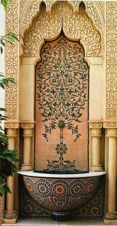 Ornate fountain in Morocco Moorish Architecture Plus Art Et Architecture, Islamic Architecture, Architecture Details, Amazing Architecture, Moroccan Design, Moroccan Decor, Moroccan Style, Moroccan Garden, Modern Moroccan