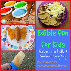 Teaching Mama: Edible Fun for Kids! A Preschool Pinning Party! Pinned by SOS Inc. Resources. Follow all our boards at pinterest.com/sostherapy/ for therapy resources.