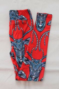 LuLaRoe-Leggings-TC-Tall-and-Curvy-Red-Deer-Unicorn-NEW