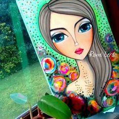 CUANDO TE MIRO Oil Painting Flowers, Fabric Painting, Pop Art Face, Mini Canvas Art, Indian Art Paintings, Mosaic Flowers, Simple Acrylic Paintings, Make Up Art, Hippie Art