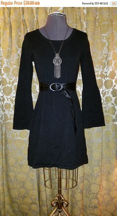 SALE Black Above Knee Dress w/Bell Sleeves Small