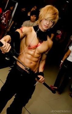 JayEm Sison from the Philipines is a renowned Cosplayer. He is well known for his shirtless cosplaying such as Gray Fullbuster from Fairy Tail, Gilgamesh from Fate Stay Night and Black Rock Shooter.  Blogger interview: http://www.cosplaytips.com/2012/01/cosplay-hunk-jayem-sison.html