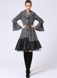 Womens Grey Wool Coat Wool Blend Lined Jacket with by xiaolizi