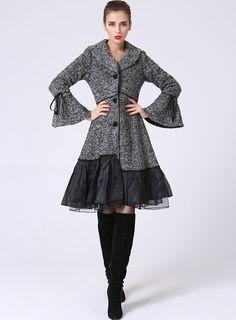 Abrigo de lana gris para mujer mezcla de lana de por xiaolizi