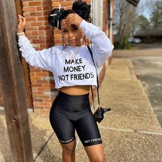 Make Money Not Friends 2 Piece Set – Changed Perceptionz Apparel Crop Top Outfits, Short Outfits, Summer Outfits, Girl Outfits, Fashion Outfits, Dope Outfits, Fashion Styles, Stylish Outfits, Summer Girls