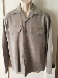 d49f365609dde7 1950s SPORTSMAN of HOLLYWOOD by Cal Made Wool Gabardine Tan Plaid Long  Sleeve Shirt with Flap Chest Pockets-M L