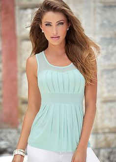 36e4e76502335a Mint Pleated babydoll top from VENUS. Available in sizes XS-XL and in black