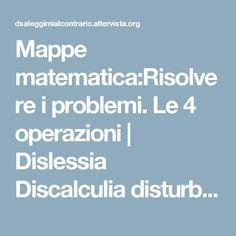 Mappe matematica:Risolvere i problemi. Le 4 operazioni | Dislessia Discalculia disturbi specifici apprendimento leggimi al contrario ASD