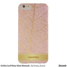 Golden Leaf Shiny Glam Minimalism Pink