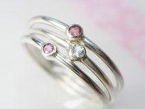 Set Stapelring Silber Vorsteckring rosa pink blau