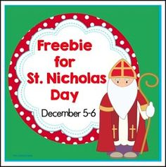 "FREE LESSON - ""Free St. Nicholas Day in the Netherlands Dec. 5-6"" - Go to The Best of Teacher Entrepreneurs for this and hundreds of free lessons. Pre-Kindergarten - 1st Grade  #FreeLesson   #Christmas     http://www.thebestofteacherentrepreneurs.com/2015/11/free-misc-lesson-free-st-nicholas-day.html"