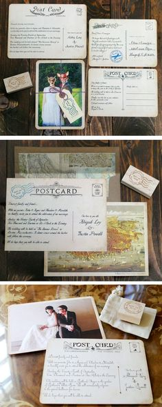 Create Your Own Vintage Postcard Wedding Invitation & Save-the-Date by Royal Steamline - starring your custom photo! #vintage #wedding