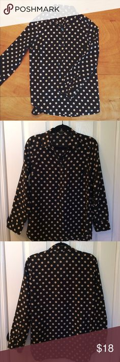 Ann Taylor Polka Dot Blouse Ann Taylor long sleeve polka dot blouse size S. Pattern is black with tan/beige dots. Shirt is long- perfect with leggings or jeans! Sleeves can be worn long or rolled up. Buttons on top.. worn a handful of times. In beautiful condition!Feel free to ask me any questions 😊 Ann Taylor Tops Blouses