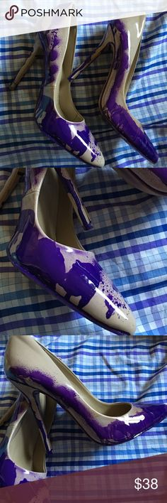 The Cathy Jean Reworked Nude Stilettos (7) The Cathy Jean Reworked Nude Stilettos (7) Hand spray painted size seven nude pumps with pointed sole #paint #purple #nudist #reworked hausofurbanite Shoes Heels