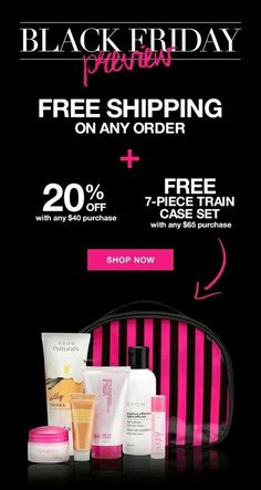 Its time for Avon's Black Friday Preview!!  Free shipping on ANY order!! Get 20% off when you spend $40!!! Free 7 Piece Train Case Set with any $65 purchase!! Use Code: BLACKFRIDAY #blackfriday #freeshipping #freegift #blackfridaysale #sale #shopping