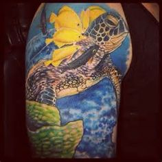 turtle and fish on shoulder